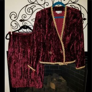 Vtg Albert Nipon 10 Crushed Velvet Skirt Suit